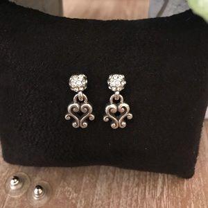 BRIGHTON Silver Pave Crystal Drop Earrings